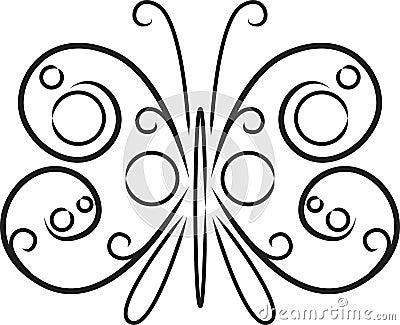 在白色查出的装饰黑白蝴蝶,向量例证.图片