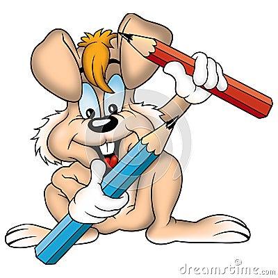褐色用蜡笔画兔子