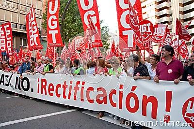 西班牙将军罢工 编辑类照片