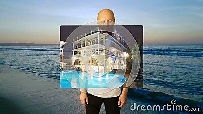 设置姿态旅游业广告 白人对日历星挑选接触赞许价格估计的手势 海滨日落 股票视频