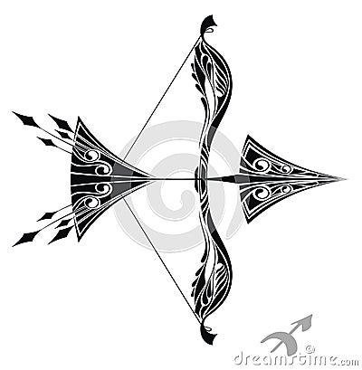 图库摄影: 设计人马座符号纹身花刺黄道带