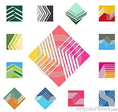 设计方形的传染媒介商标模板。