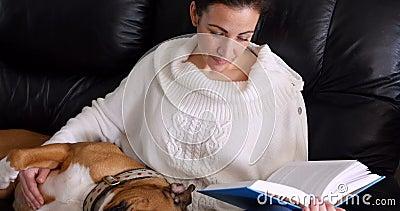 读小说的妇女,当放松的狗在她的膝部时 股票录像