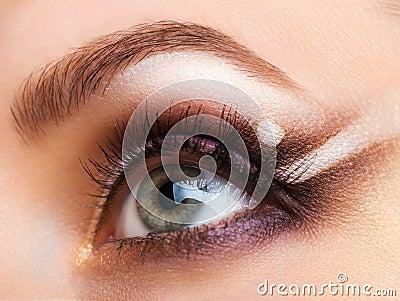 老婆屄的特写_象女人的眼睛特写镜头与迷人的构成的 免版税库存照片