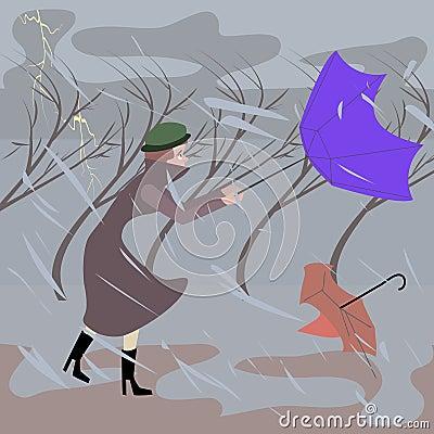 走在多暴风雨的天气的妇女图片