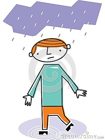 走在雨中的人图片