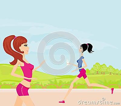 跑步的女孩在夏天