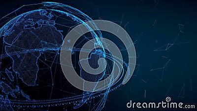 转动与结节的地球地球 全球性数字式连接 数据网络和交换行星地球上的 向量例证