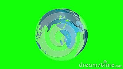 转动在绿色背景的蓝色地球