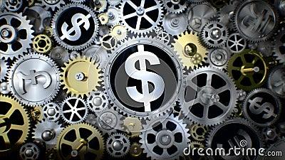 转动的美元货币符与各种各样的货币符的齿轮单位