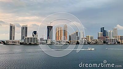 迈阿密的堤岸和帆船 股票视频