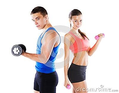 运动男人和妇女