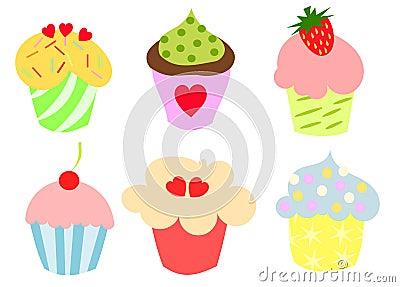 逗人喜爱五颜六色的杯形蛋糕
