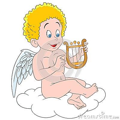 飞行在天空的一朵云彩和使用在里拉琴的爱丘比特,天使和激情在一个图片