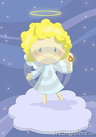 逗人喜爱天使的男孩一点