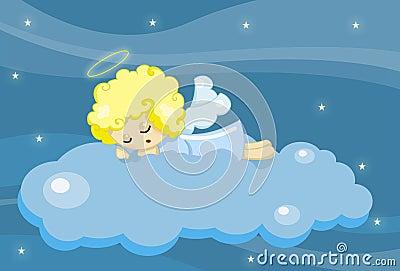 逗人喜爱天使的男孩休眠的一点