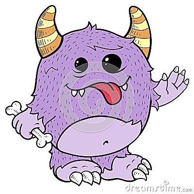 逗人喜爱的例证妖怪紫色