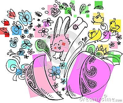 逗人喜爱的复活节兔子用鸡蛋
