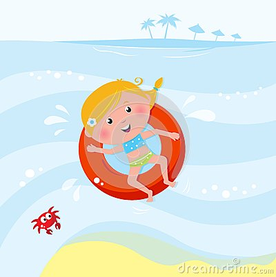 逗人喜爱的女孩海运微笑的游泳