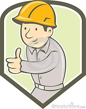 看对在盾冠里面的边集合的建造者建筑工人佩带的安全帽赞许的例证在图片