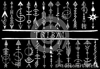 部族手拉的箭头设计元素,种族收藏,部族艺术,在黑色隔绝的纹身花刺.