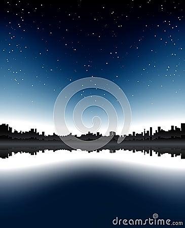 都市晚上的地平线