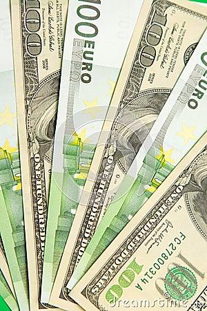 钞票美元欧元一百 库存图片图片