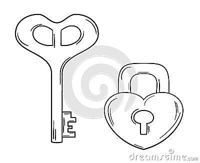 钥匙和锁有心脏形状的图片