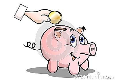 银行逗人喜爱的猪