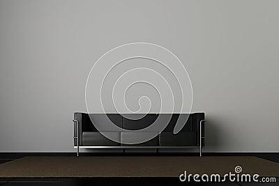 长沙发灰色墙壁