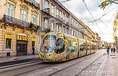 蒙彼利埃,法国- 1月05 :阿尔斯通2014年1月5日的citadis 302电车在