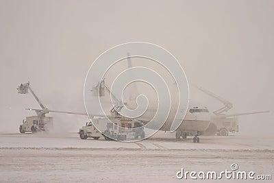 除冰的飞机