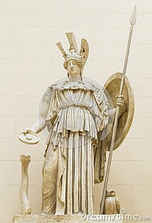 雅典娜英勇努力和智慧的古希腊的女神.