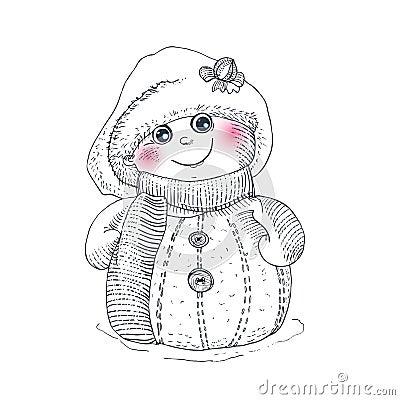雪人剪影传染媒介字符 寒假例证 滑稽的幼稚传统标志新年好.
