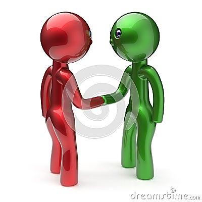 震动手漫画人物握手象的两个人图片