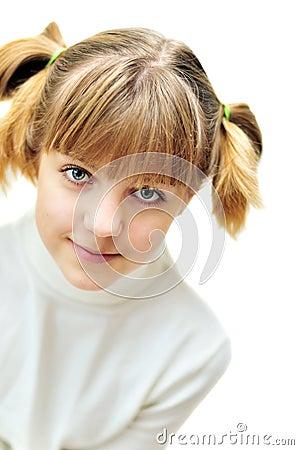 滑稽的青少年女孩发型可爱的纵向.图片
