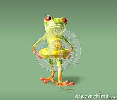 3d鸭子青蛙被生成的去的游泳.图片