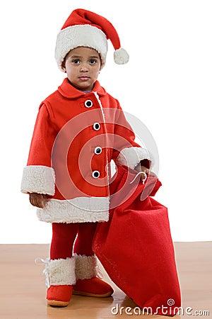 非洲小克劳斯服装女孩圣诞老人