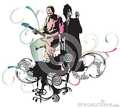 吉他弹奏者例证歌唱家.图片