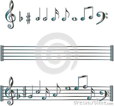 六色的梯度例证关键字线路做音乐书面的音符被设置的歌曲梯级符号向量