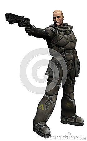 领导先锋海军陆战队员射击空间小队