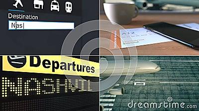 飞行向纳稀威 旅行到美国概念性蒙太奇动画 股票录像