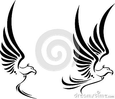 飞行您的老鹰纹身花刺设计
