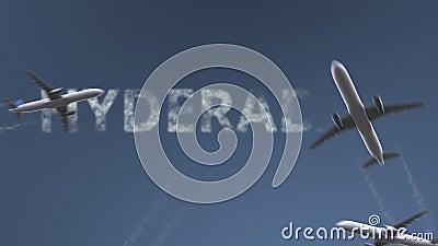 飞行飞机显露海得拉巴说明 旅行到巴基斯坦概念性介绍动画 股票录像