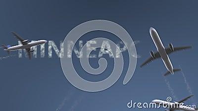 飞行飞机显露米尼亚波尼斯说明 旅行到美国概念性介绍动画 影视素材