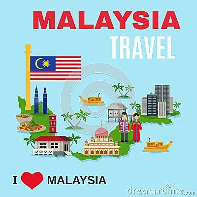 与国家标志的世界旅行社马来西亚顶面文化旅游胜地海报和国家映射平的图片