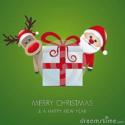 驯鹿圣诞老人礼物盒 免版税库存照片 - 图片: 27013445图片