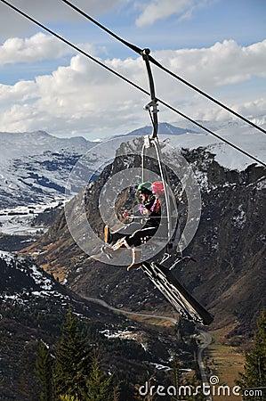 驾空滑车luge新的queenstown西兰 编辑类库存图片