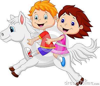 动画片男孩和女孩的例证骑小马马的.图片
