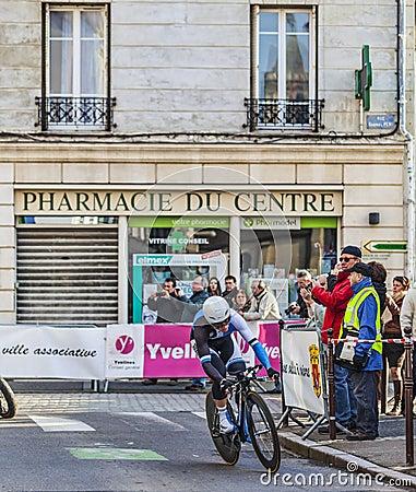 骑自行车者标记Renshaw-巴黎尼斯2013年序幕在Houilles 编辑类库存图片